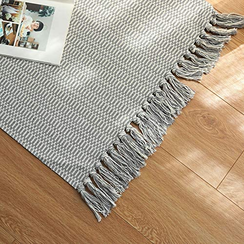 2 x 4 ft, Light Grey Ojia Cotton Reversible Rag Rug Hand Woven Single Color Chindi Area Rug Entryway for Laundry Room Kitchen Bathroom Bedroom Dorm