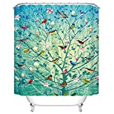 Tree Shower Curtain Goodbath Mildew Resistant Waterproof Fabric Polyester Shower Curtains Liner 66 x 72 Inch (Tree and Bird)