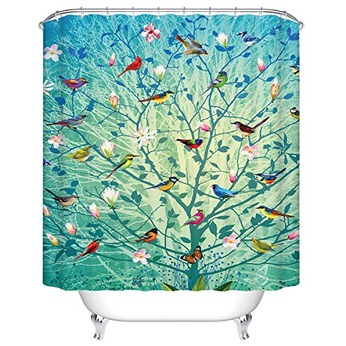Goodbath Mildew Resistant Waterproof Fabric Polyester Shower Curtains Liner 66 x 72 Inch (Tree and Bird) (Birds Shower Curtain)