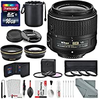 Nikon AF-S DX NIKKOR 18-55mm f/3.5-5.6G VR II Lens, Platinum Accessory Bundle W/ 52mm Wide-angle & Telephoto Lens, Variety of Filters Lens Pouch, 16GB SD Card + XPIX Lens Accessories