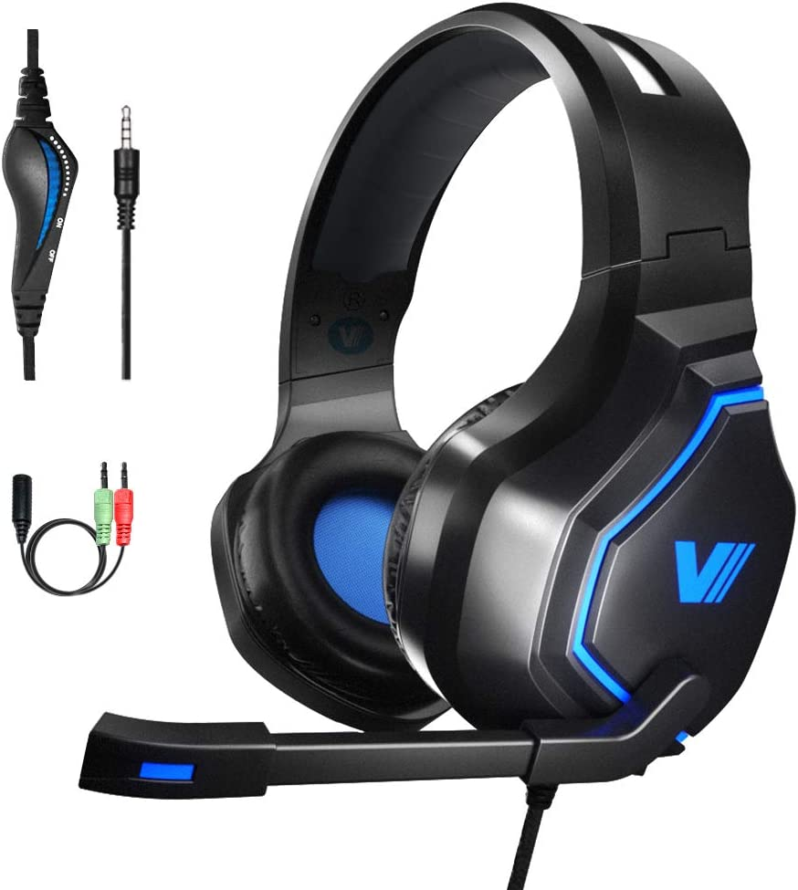 VWELL PC Gaming Headset – 3.5mm Stereo Gaming Headset for PS4, PC, Xbox One, Nintendo Switch, Noise Cancelling Headset with Mic, Volume Control