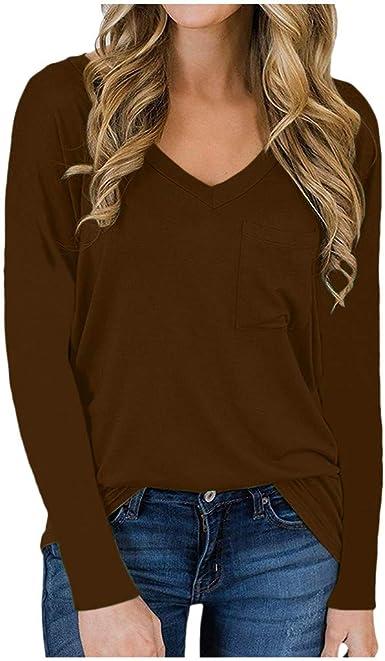Holywin - Camisa de mujer cerrada lisa, de manga larga ...