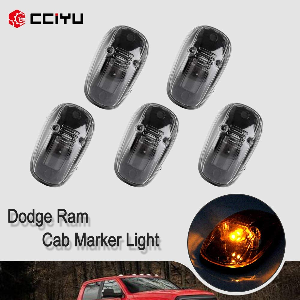 cciyu 5 Pack Amber LED Cab Roof Marker Clearance Covers w//T10 W5W Wedge 168 194 LED Bulb 1 Set Wiring Pack Switch Assembly Wire Harness Replacement fit for 1999-2002 Dodge Ram 2500 3500 4500