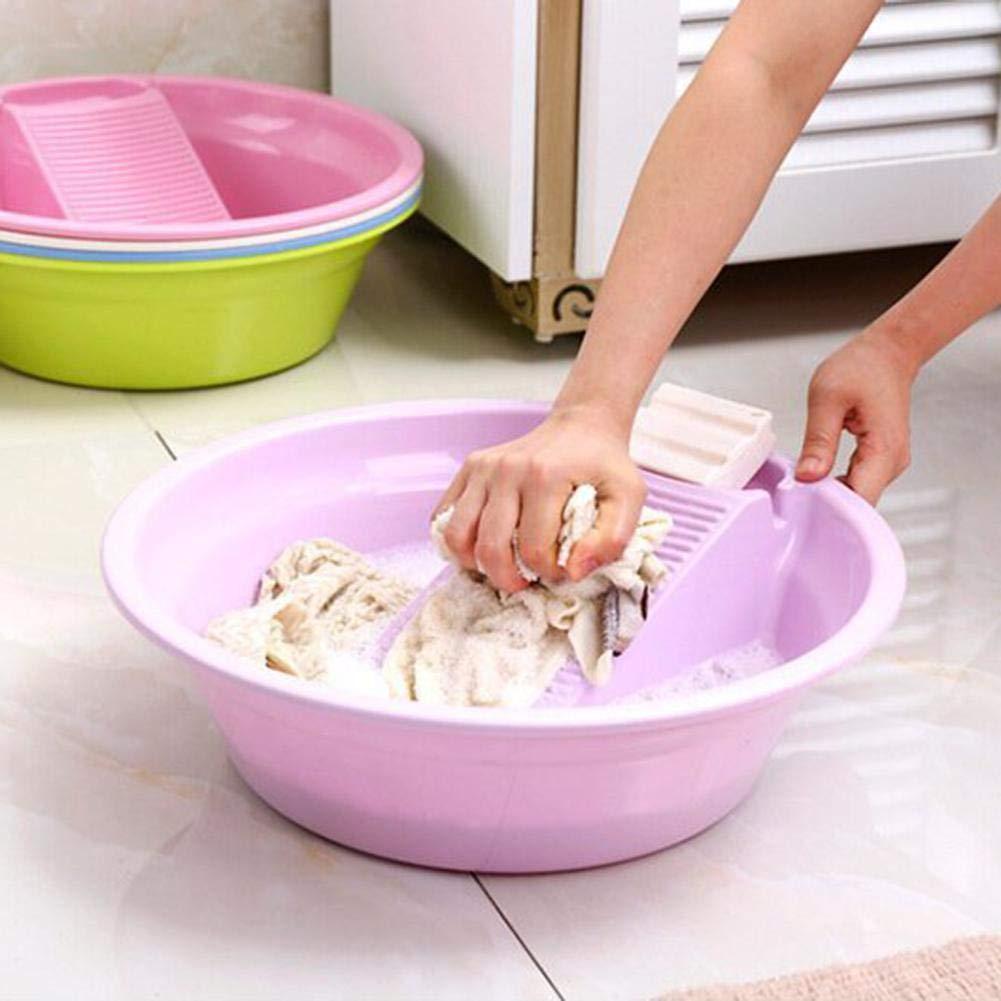 Carvevt Bassin en Plastique /Épaissi avec Planche /À Laver pour Washboard sous-v/êtements Lave-Linge /À La Main Serviettes V/êtements pour B/éb/és