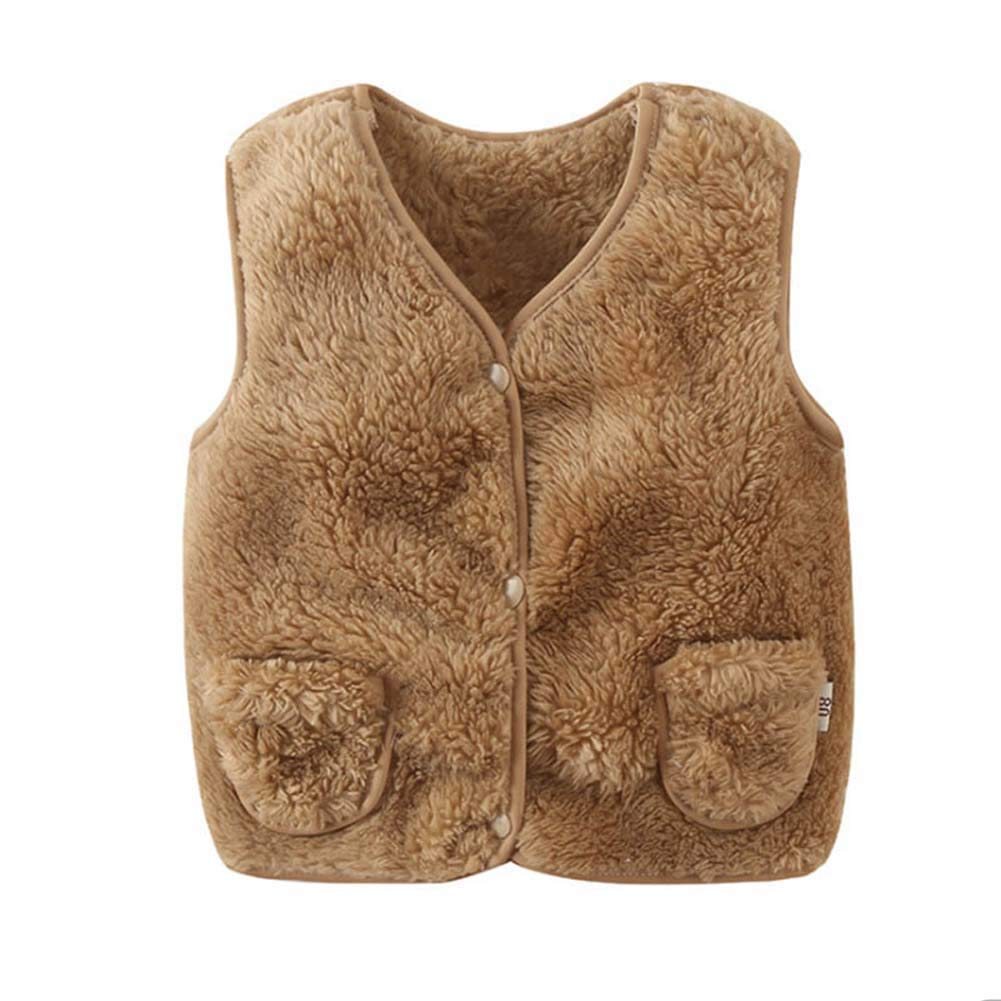 BOBORA Baby Girls Boys Winter Warm Fleece Vest Coats Unisex Faux Fur Waistcoat with Pockets Clothes for 0-5Years