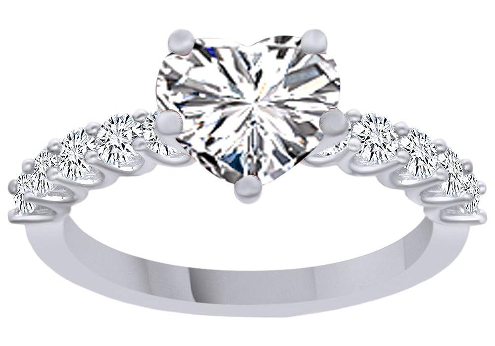 AFFY Ring mit 18 Karat vergoldetem Sterling-Silber 925 Zirkonia in Herzform