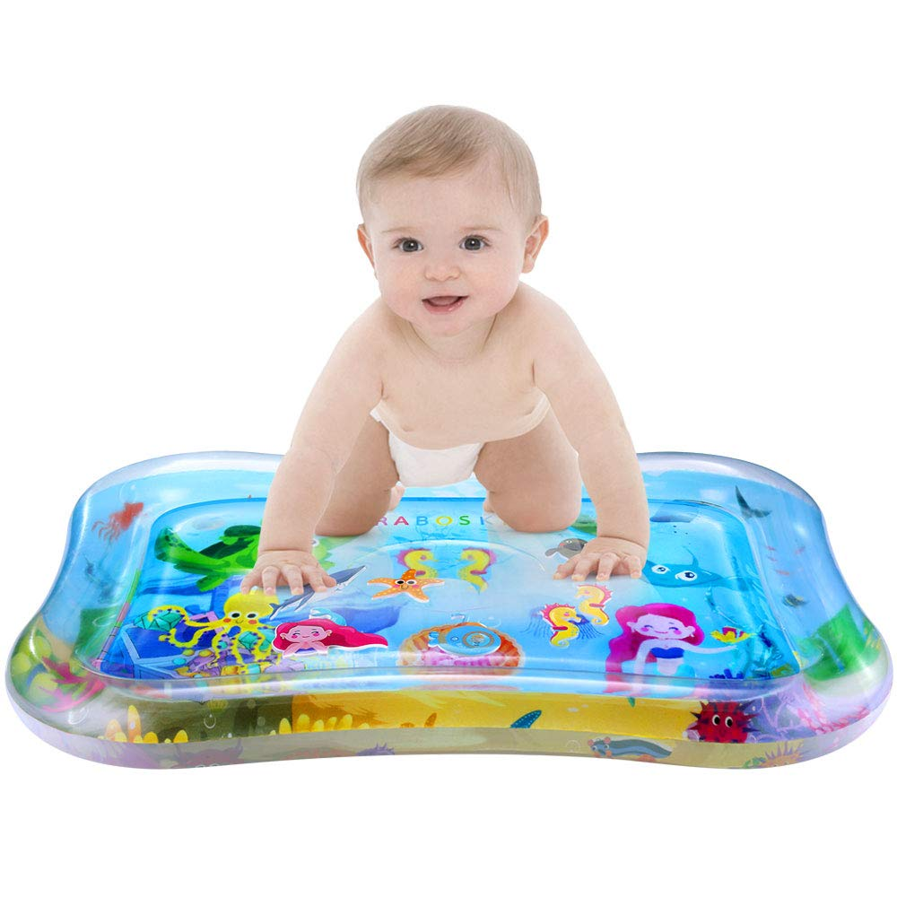 Rabosky Baby & Infant Toys Tummy Time Water Play Mat, Inflatable Sensory Newborn Toys, Perfect Baby Toy for 3 4 6 9 to 12 Months Old Boy or Girl Gift, 27.5' x 21.5', 7 Floating Toys [CPC Approved]