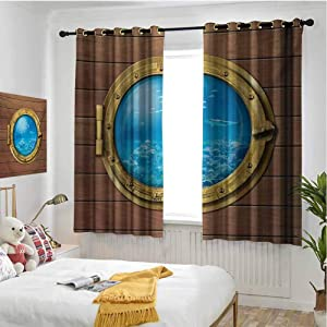 hengshu Shark Eclipse Blackout Curtains for Bedroom Submarine Chamber Window with A View of Coral Reef Swimming Fishes Print Thermal Insulated Noise Reducing W72 x L72 Inch Pale Caramel Blue Gold