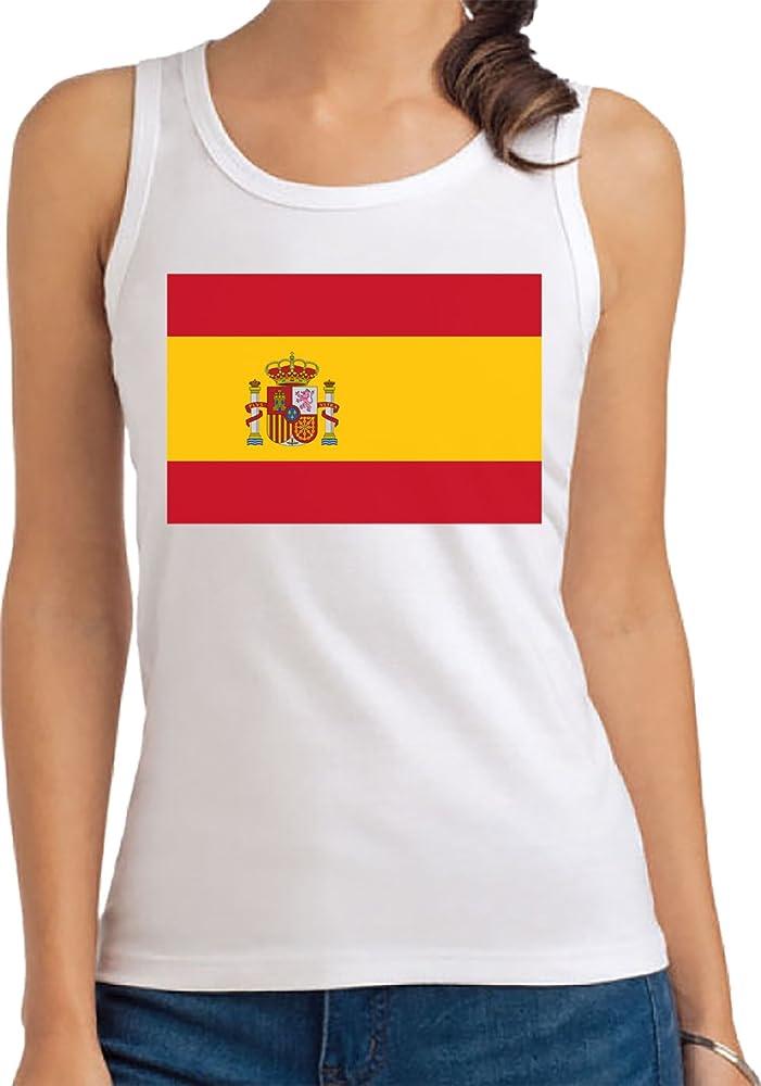 España Bandera Camiseta De Tirantes Para Mujer Blanco Todos Los Tamaños | Womens Tank T-Shirt Top: Amazon.es: Ropa y accesorios