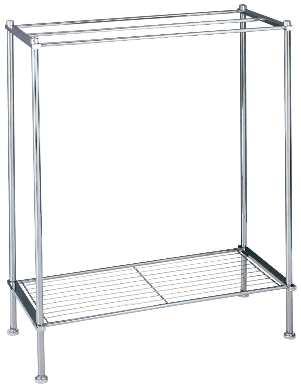 Organize It All Freestanding 3 Bar Chrome Bathroom Towel Rack with Bottom Shelf