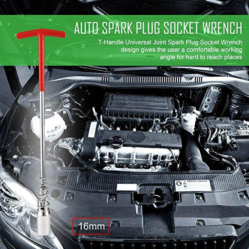 Pudincoco T-Handle Universal Spark Plug Bujía Llave Removedor Instalador Auto herramienta de reparación de automóviles Multifuncional Antideslizante ...