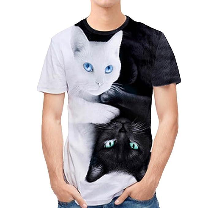Yvelands Handsome T-Shirt Personalidad de la Moda para Hombres 3D Print Doble Gato Casual