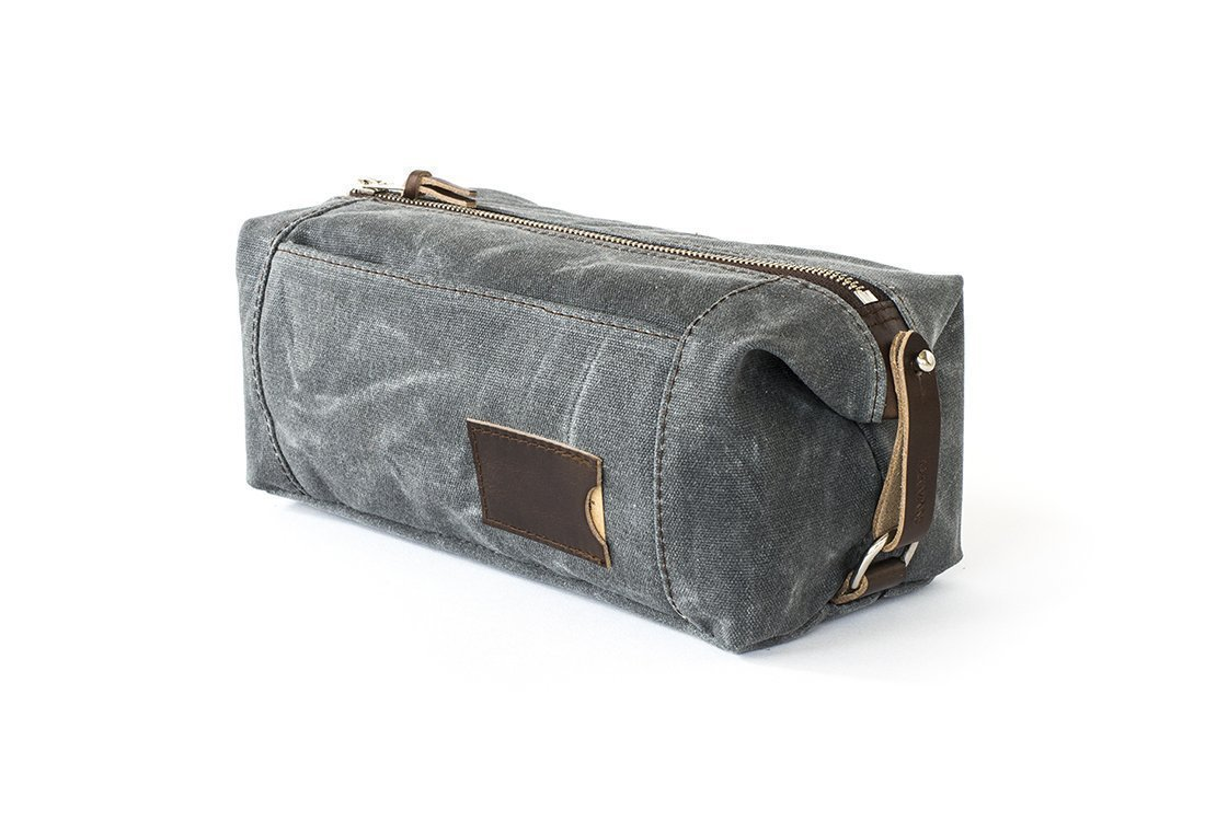 Waxed Canvas Dopp Kit: Large, Expandable, water-resistant, Hanging Toiletry Bag, Travel, Slate Gray - No. 349 (Made in the USA)