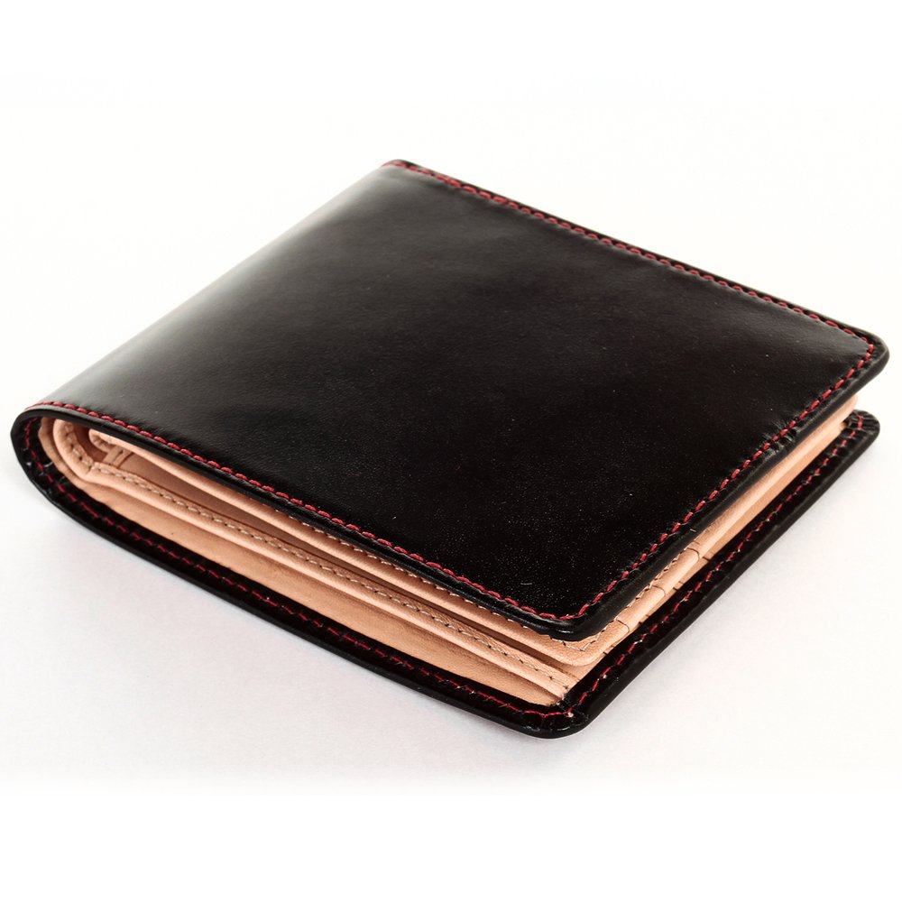 [ブリティッシュグリーン] ブライドルレザー 二つ折り財布 メンズ 本革 NEWモデル B076P39CXL 12.レッドステッチ 12.レッドステッチ