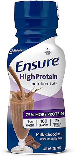 Ensure High Protein Nutritional Shake with 16g of High-Quality Protein, Ready-to-Drink Meal Replacement Shakes, Low Fat, Milk Chocolate, 8 fl oz, 24Count