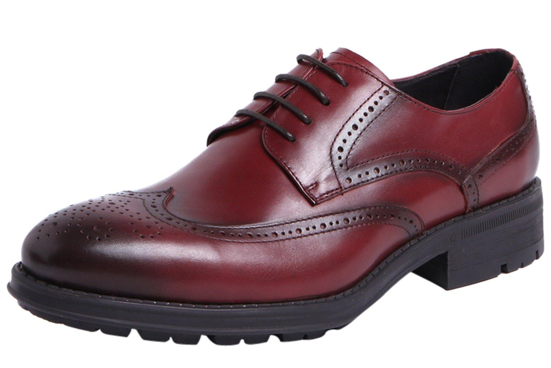 Santimon Brogue Shoes Mens Formal Business Wedding Oxfords Lace up Dress Shoes by Red 6.5 D(M) US