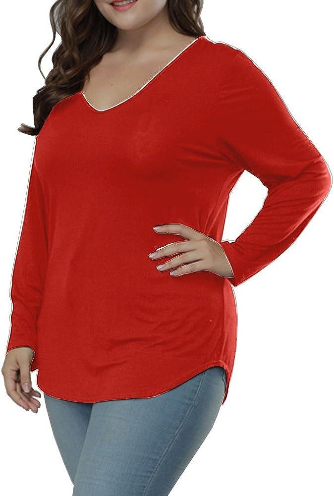Allegrace Plus Size Tops Long Sleeve Women Casual Loose Top Asymmetric Hem V Neck T Shirts
