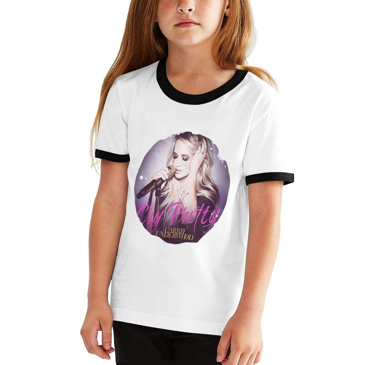 Nevaehbriella Carrie Underwood Cry Pretty Cotton Girls Boys T Shirt Adolescent Youth Funny Tee Black