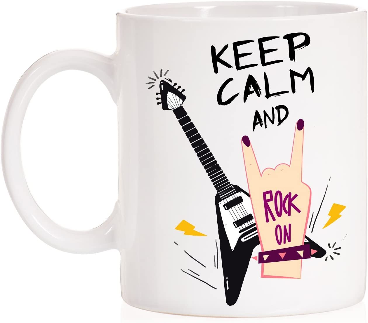 MardeTé Taza Keep Calm and Rock On. Taza Regalo para Roqueros o ...