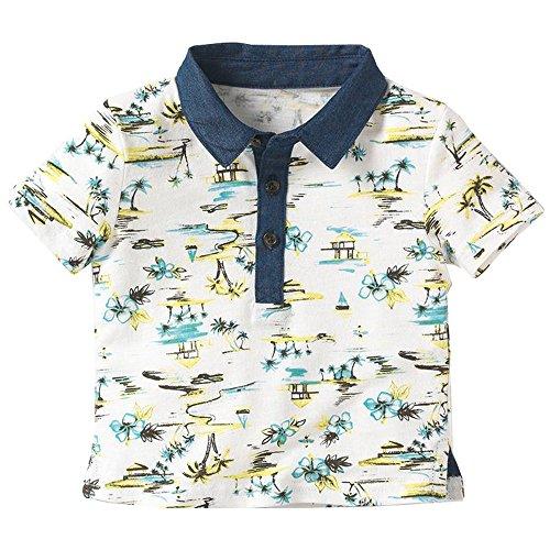 Soda Park Boys White Polo Shirt Hawaiian Shirt Island,4/5 Years - Island Aloha Shirt