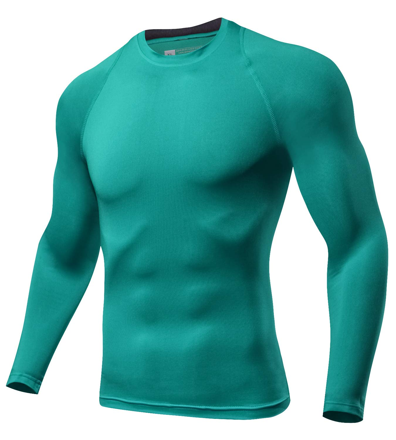 Lavento Men's Compression Shirts Crewneck Long-Sleeve Dri Fit Workout Shirts (1 Pack-Blue Green,Small)
