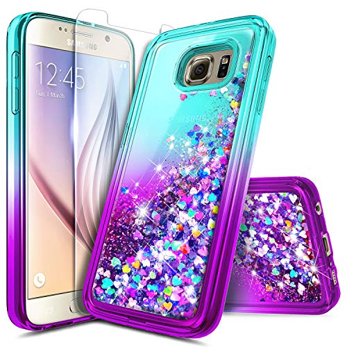Galaxy S6 Edge Plus Case with Screen Protector (3D PET) for Girls Women, NageBee Glitter Liquid Sparkle Bling Floating Waterfall Quicksand Cute Case for Samsung Galaxy S6 Edge Plus -Auqa/Purple