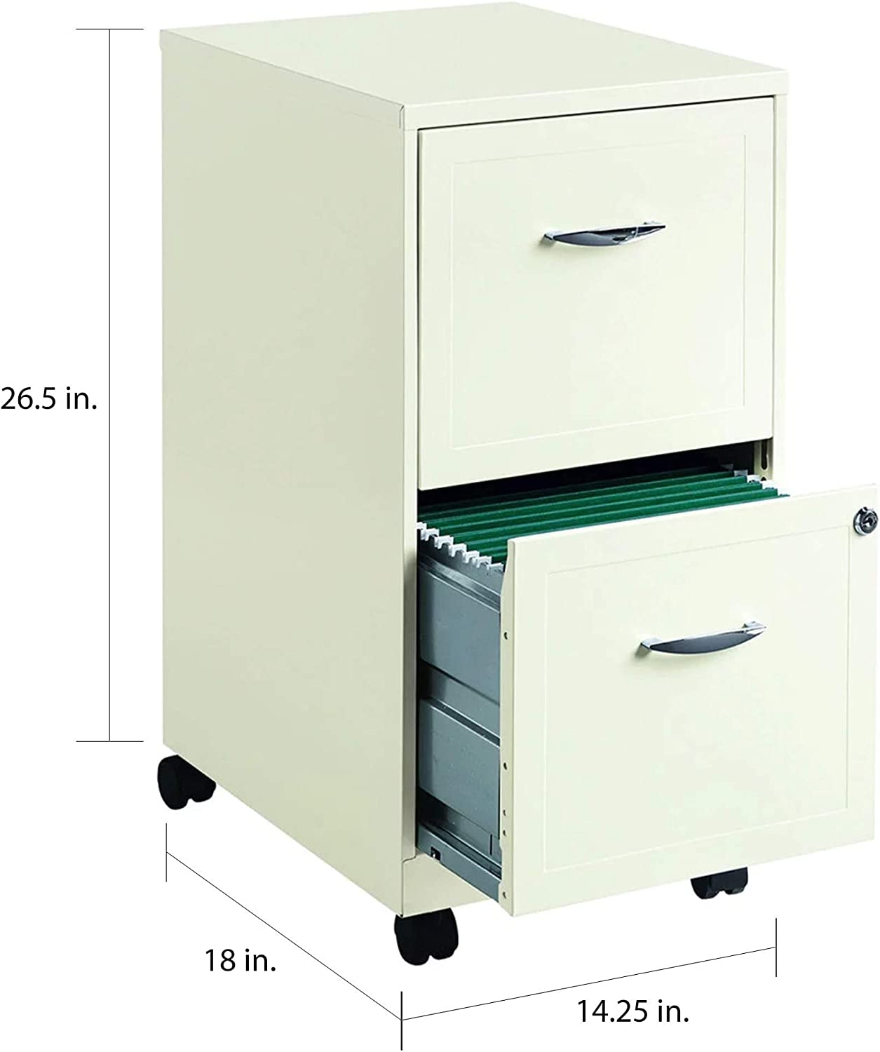 "NEW 18/"" Deep 2 DRAWER MOBILE LETTER SIZE File Cabinet Pearl White Color"