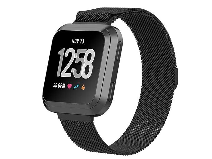 Inkasus Bracelet en mÃtal Milanais noir pour Fitbit Versa: Amazon.fr: High-tech