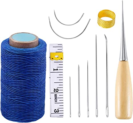 1 Brown Spool 1 White Spool Upholstery Repair Kit Hand Sewing Set of 11 Pcs Heavy Duty Household Hand Needles and Strong Upholstery Waxed Thread 2 Black Spool Large-Eye Stitching Needles for