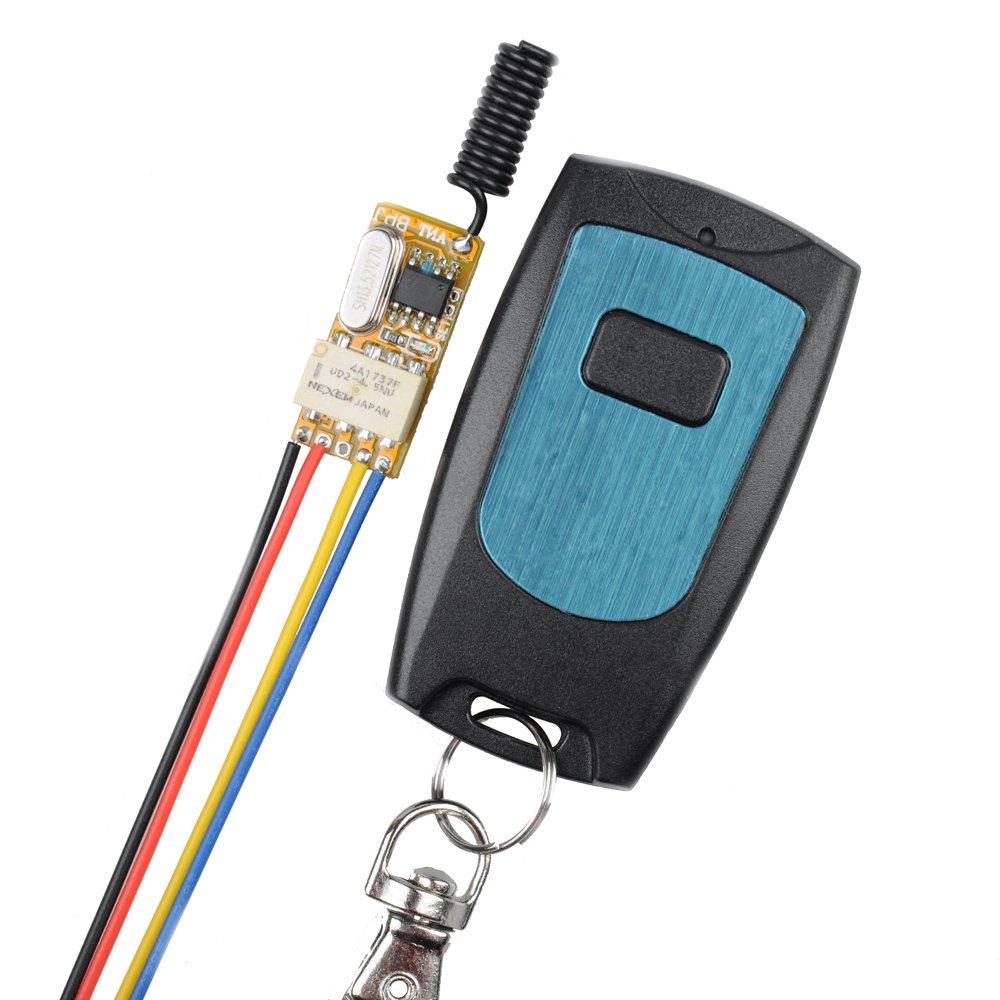 Wireless Relay Switch 12V 433MHz RF Wireless Remote Control Transmitter with Receiver, Toggle Switch DC3.7V 4.5V 5V 6V 7.4V 9V 12V BWSS