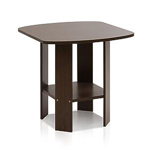 Furinno Simple Design End/Side Table, Dark Brown
