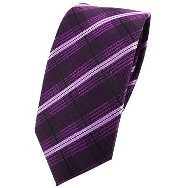 TigerTie - corbata estrecha - morado violeta lila negro rayas ...