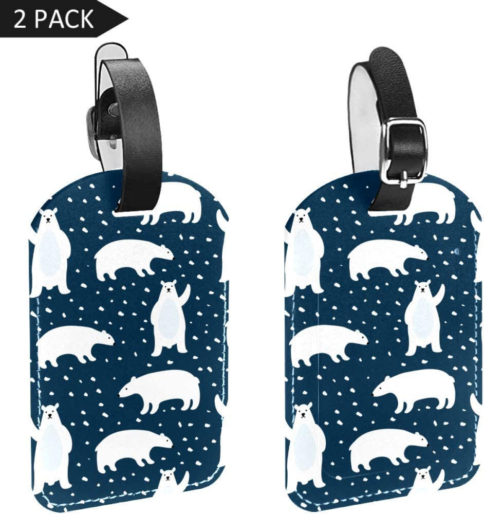 Baby Animals Polar Bear Luggage Tag Label Travel Bag Label With Privacy Cover Luggage Tag Leather Personalized Suitcase Tag Travel Accessories