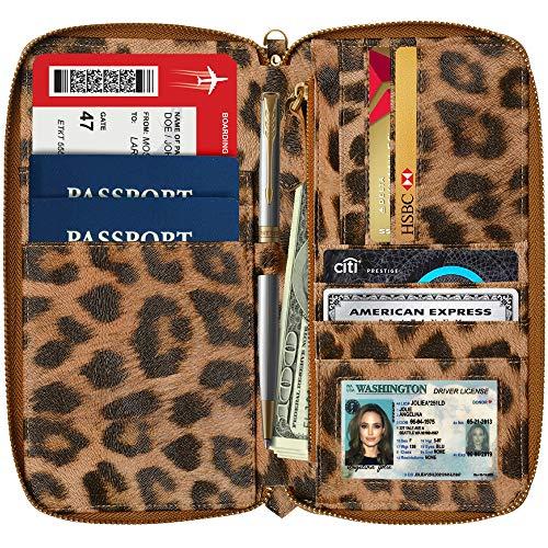 Womens Passport Wallet Travel RFID Passport Holder for Women Clutch Wristlet Id Leopard