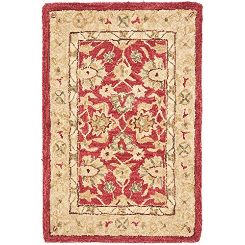 Safavieh Anatolia Collection AN522A Handmade Traditional Oriental Red and Ivory Wool Area Rug (2' x 3')