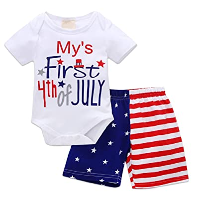 e6a296676 OBEEII My First 4th of July Newborn Baby Boy Outfits American Flag Summer  Romper Pants Independence Day 2PCS Set