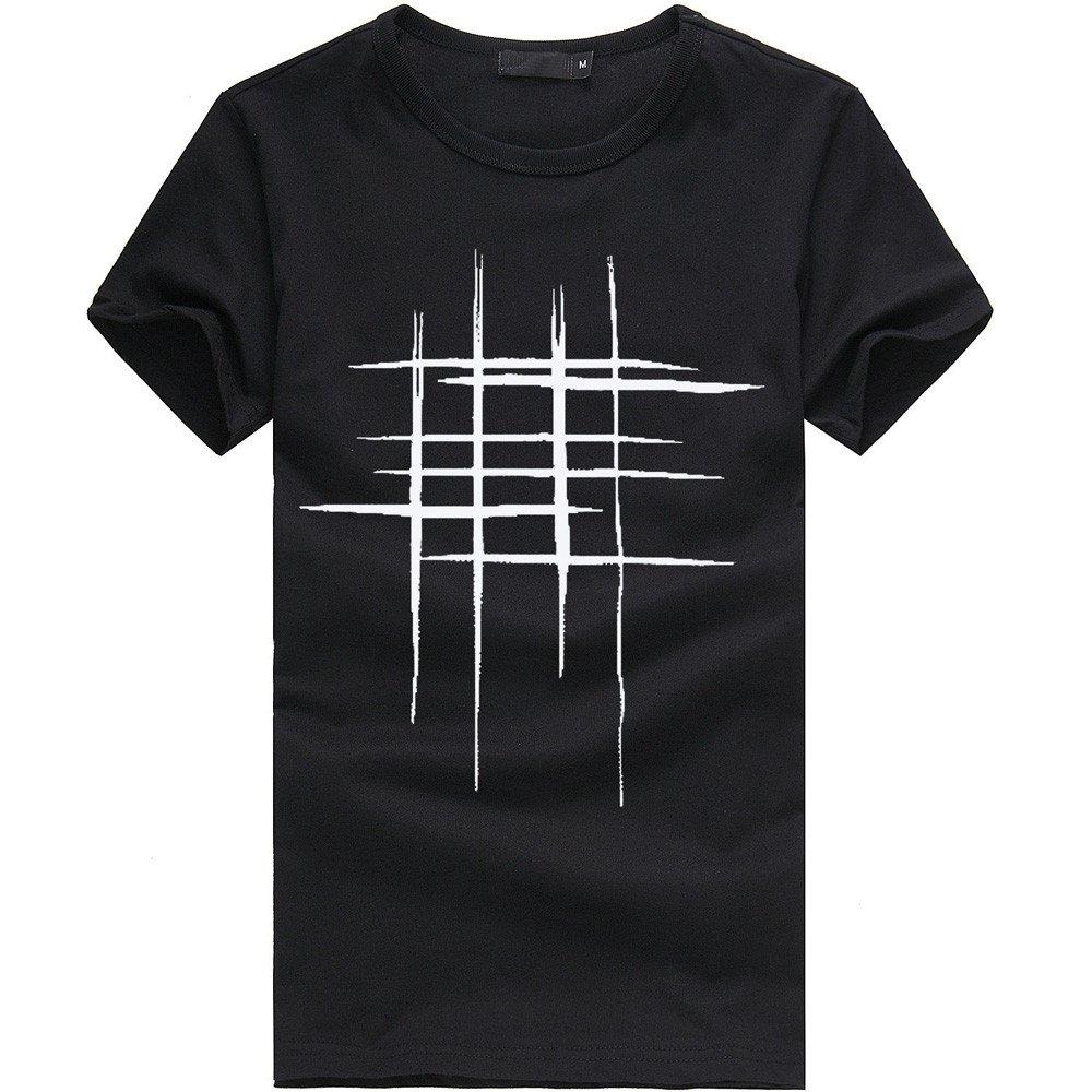 Simayixx Short Shirts for Men, Fashion Teens Casual Slim Basic Blouse Line Print T Shirt O Neck Regular Fit Tops Plus Size