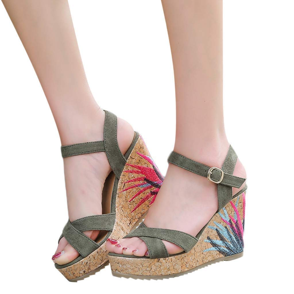 Gobling Platforms Shoes for Women Fashion Cozy Metal Buckle Anti-Slip Bohemia Sandals Spring Summer Sling Back Wooden Wedge Sandals (Color : Green, Size : 6 M US)