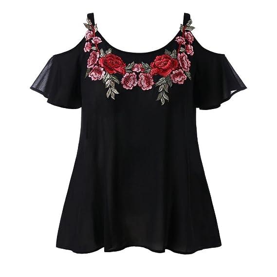 DOGZI Blusas para Mujer Verano Correa Chifón Casual Frío Hombro Bordado Camiseta Blusa Tops (S