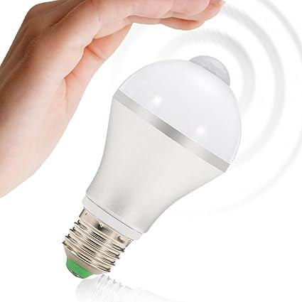 solled E27 7 W PIR sensor de movimiento, luz blanca cálida, 14 LEDs bajo