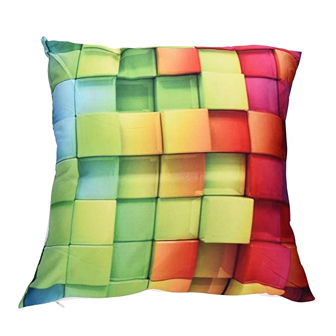 Automotive Viahwyt Super Cool Cushion Cover Couch 3D Rainbow Geometric Square Cushion Covers 45cm x 45cm Pillow Case For Sofa Car Restaurant Home Decor New Home Gifts Unique Design A