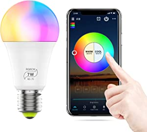 Smart WiFi Light Bulb, 60 Watt Equivalent 2700K-6500K Dimmable RGB Multi-Color LED Light Bulb Sync to Music Compatible with Alexa, Echo, Google Home and Siri for Home Decor, Stage, Party