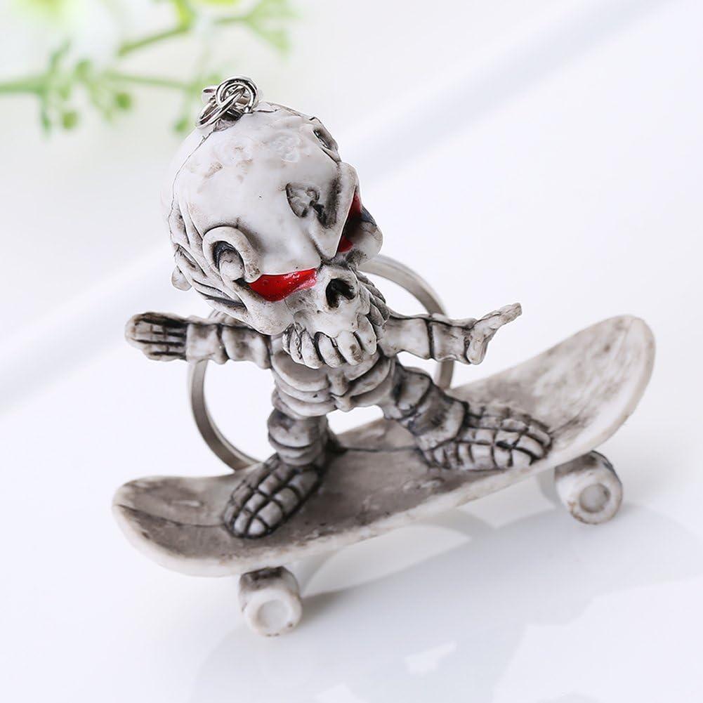 YiFeiCT Creative T/ête de Mort Squelette Skateboard Pendentif Porte-cl/és KeyFob Strange Jouets