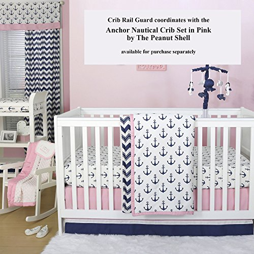Navy Blue and White Nautical Cotton Padded Crib Rail Guard by The Peanut Shell by The Peanut Shell (Image #2)