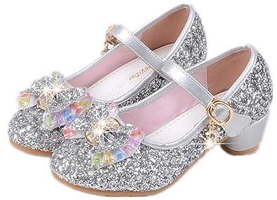 af43e1a7459ed YOGLY Babies Fille Chaussure à Talon Enfant Ballerine Princesse avec  Paillettes Noeud Papillon Chausson Maryjane  Amazon.fr  Chaussures et Sacs