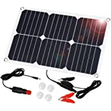 Suaoki Portable Solar Panel Car Battery Charger 18V 18W SunPower, Cigarette Lighter Plug, Battery Charging Clip Line, Suction Cups, Battery Maintainer for Automobile Motorcycle