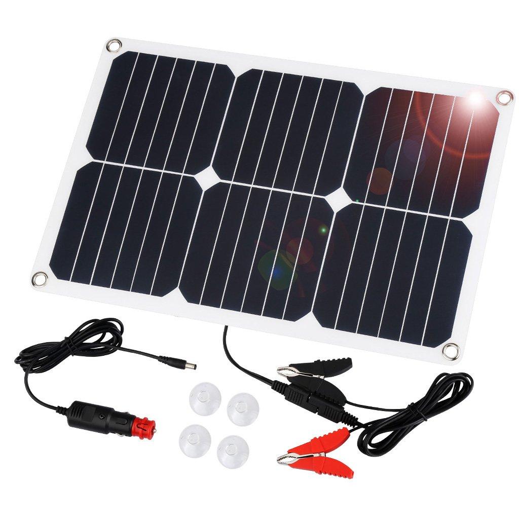 Suaoki 18V 18W Pannello Solare Portatile Caricatore per Batteria dell' Auto, Include Spina di Accendisigari, Pinza Cocodrillo, Ventose e Batteria Mautenzione per Auto Moto 208108801-01
