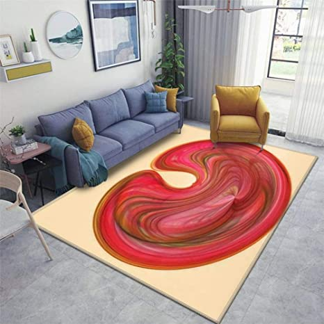 Red Pink Cream Kidney Shaped Design Backdrop Oval Pallet Wave Wavy Area Rugs Floor Mat Non Slip Throw Rugs Soft Door Mat Nursery Carpet For Living Room Home Indoor Outdoor Runner