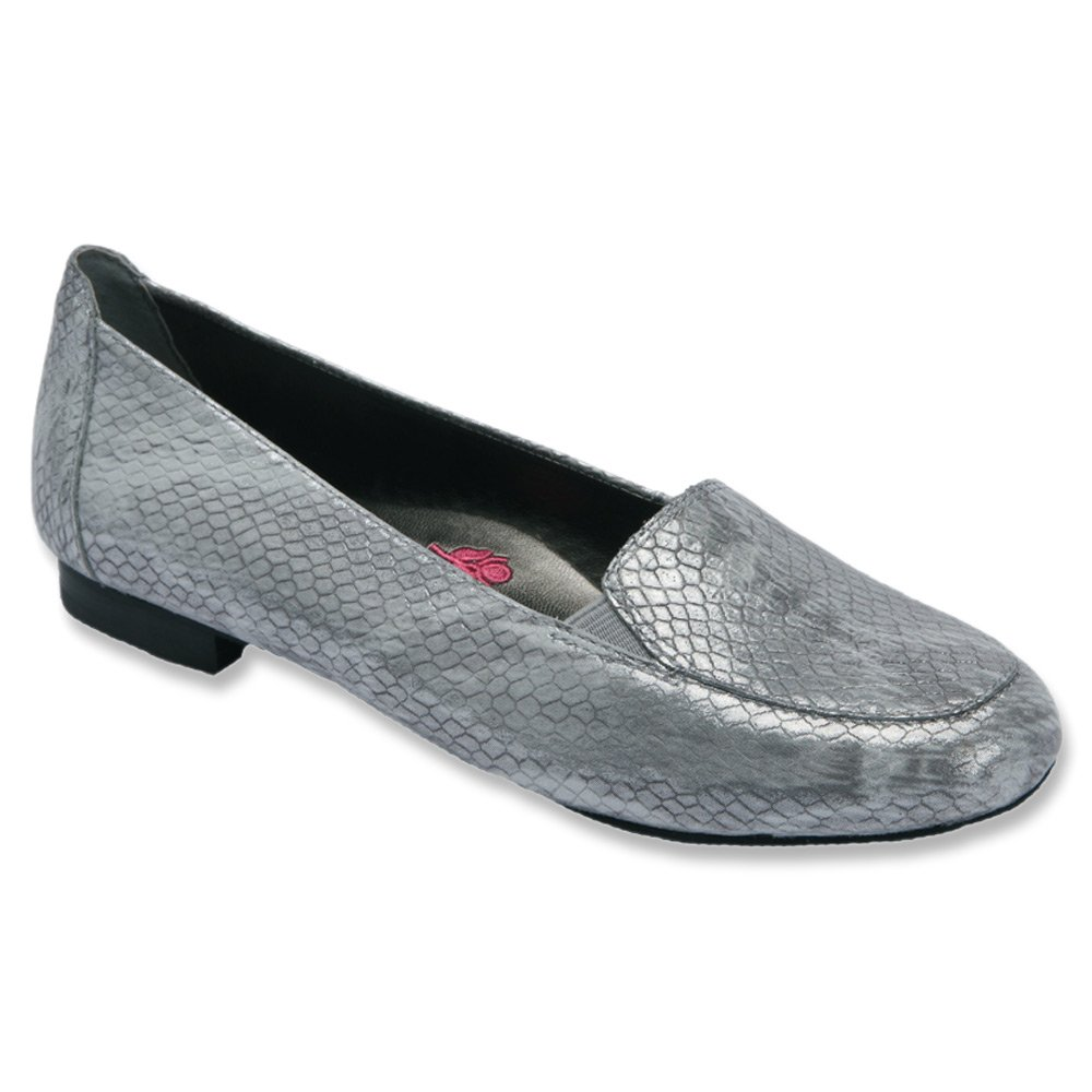 Ros Hommerson Regan Women W Round Toe Leather Loafer B00UW6LJ3E 8 XW US|Silver Metallic Snake Print