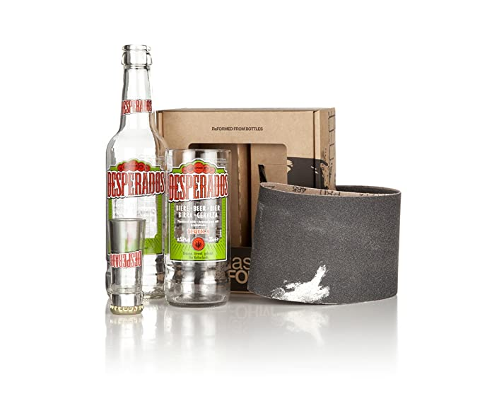 Vaso y vaso de chupito de cristal reciclado con botellas de cerveza Desperados (juego de 2 vasos) con caja de regalo. Hecho a mano en Devon con vidrio ...